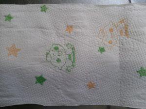 食材宅配コープデリのほぺたんトイレットペーパー 紙にほぺたんが印刷されている