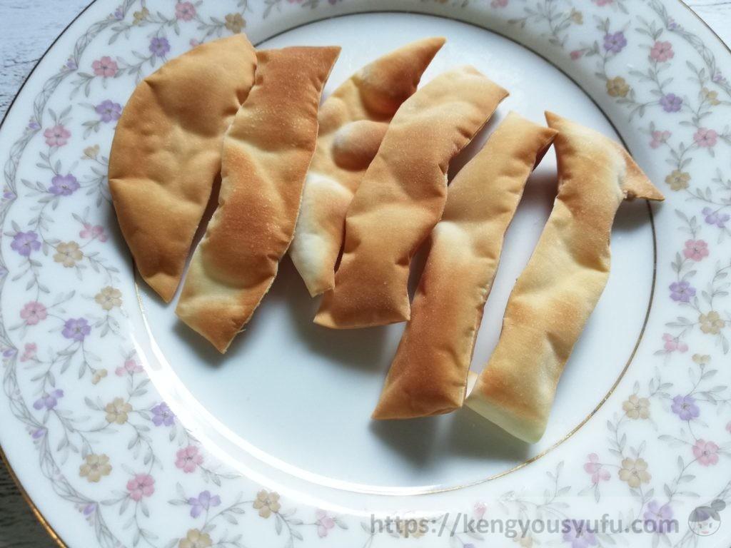 食材宅配コープデリで購入した餃子の皮もち米入り パッケージ画像 直径を計っている画像