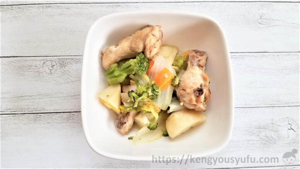 食材宅配コープデリ料理キット「手羽元と冬野菜のポトフ」再現完成画像