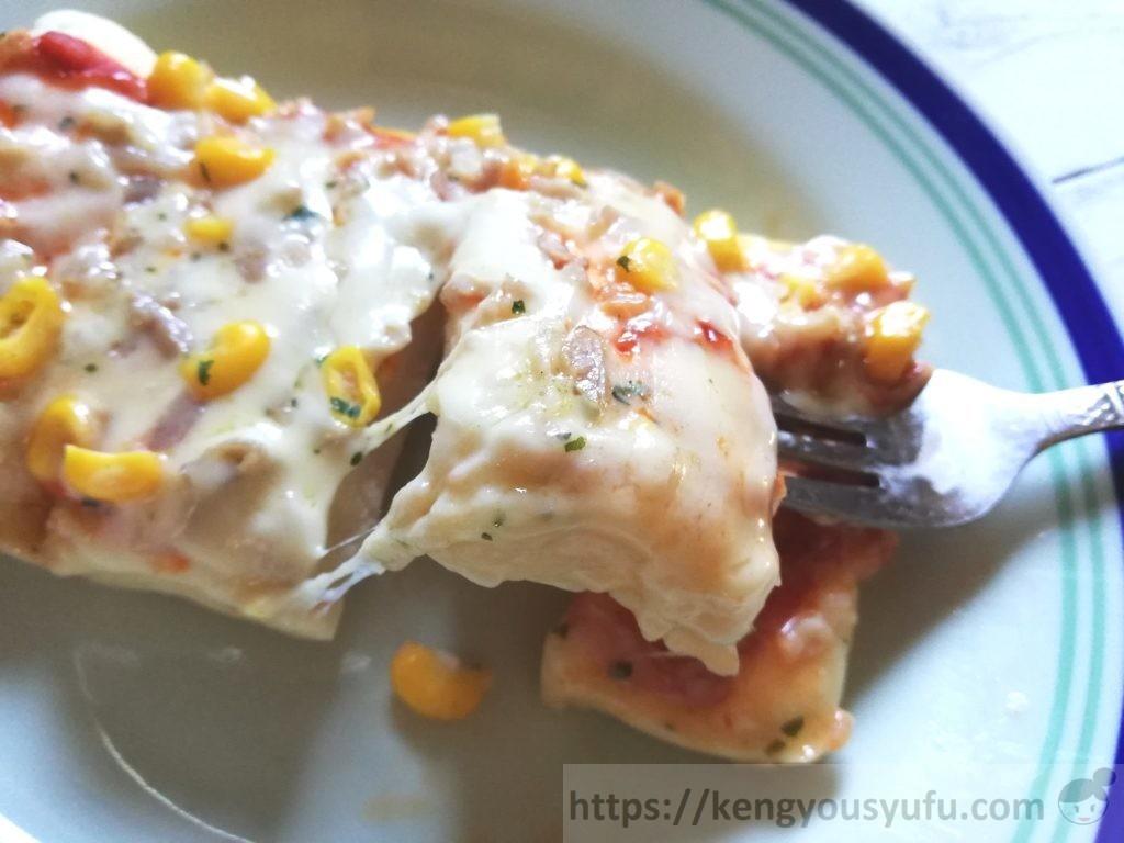 食材宅配コープデリ・パルシステムで「ふんわりレンジピザ」とろーり溶けたチーズ