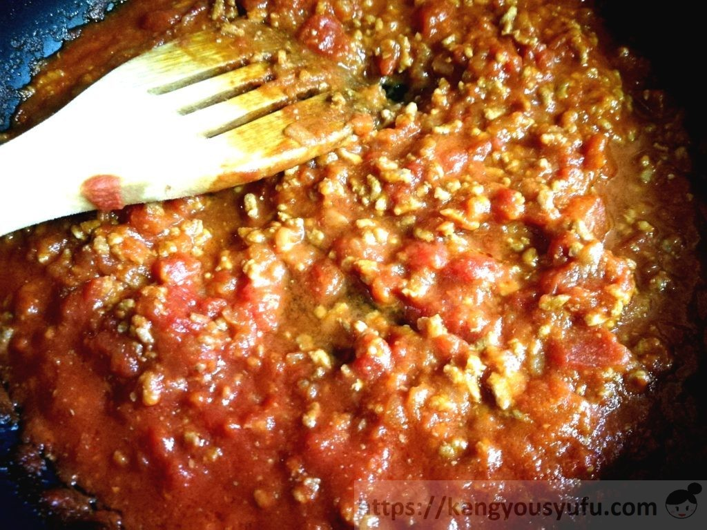 コープ 「イタリア産カットトマト」簡単に自宅でイタリアン!ミートソース完成間近の画像