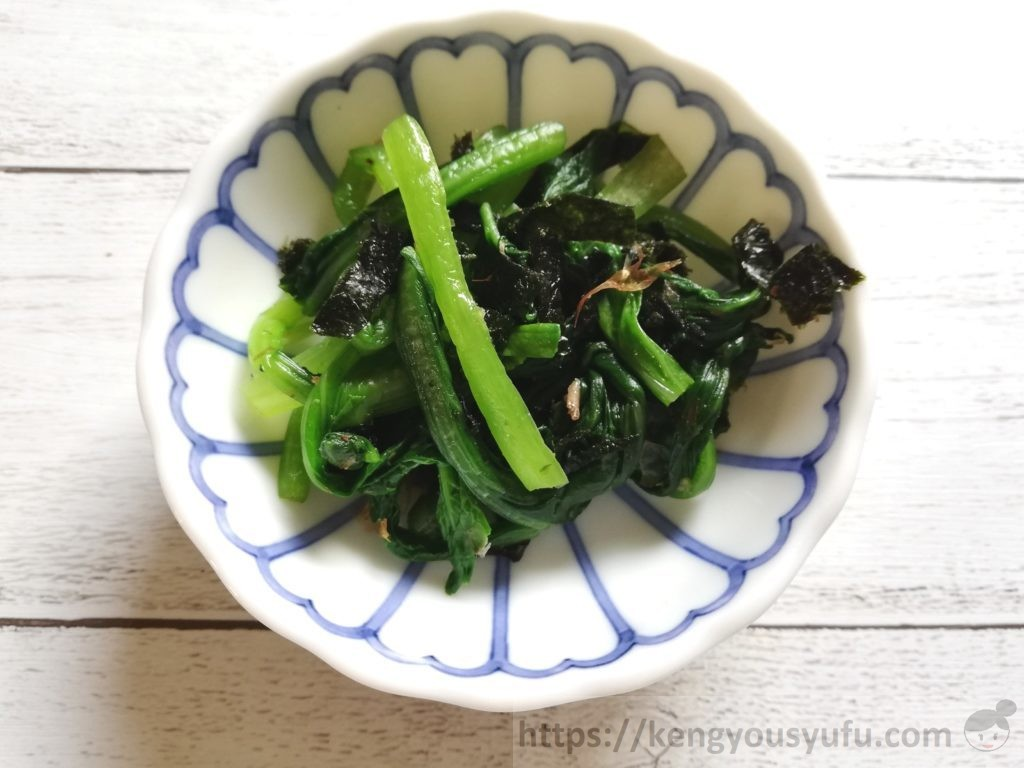 食材宅配コープデリで購入した「有明海産焼のり」を使って作った小松菜のお浸し
