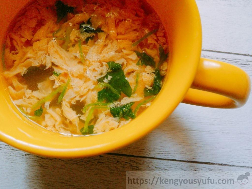 食材宅配コープデリで購入した「国産素材たまごスープあっさりタイプ」お湯を注いだ後の画像