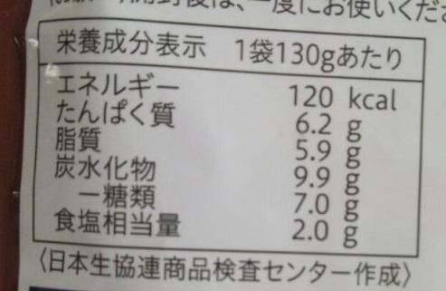 食材宅配コープデリで購入した「ボロネーゼ」栄養成分表示