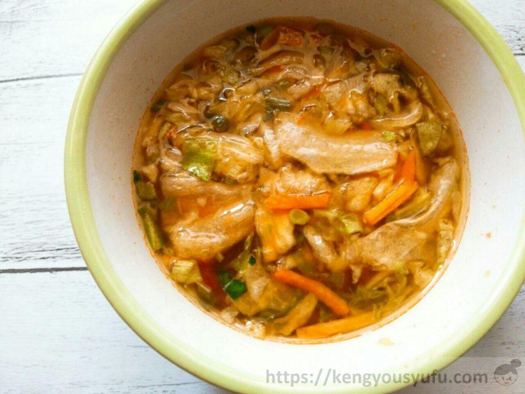 食材宅配コープデリで購入した「野菜の美味しいスープミネストローネ風」お湯を注いだ画像