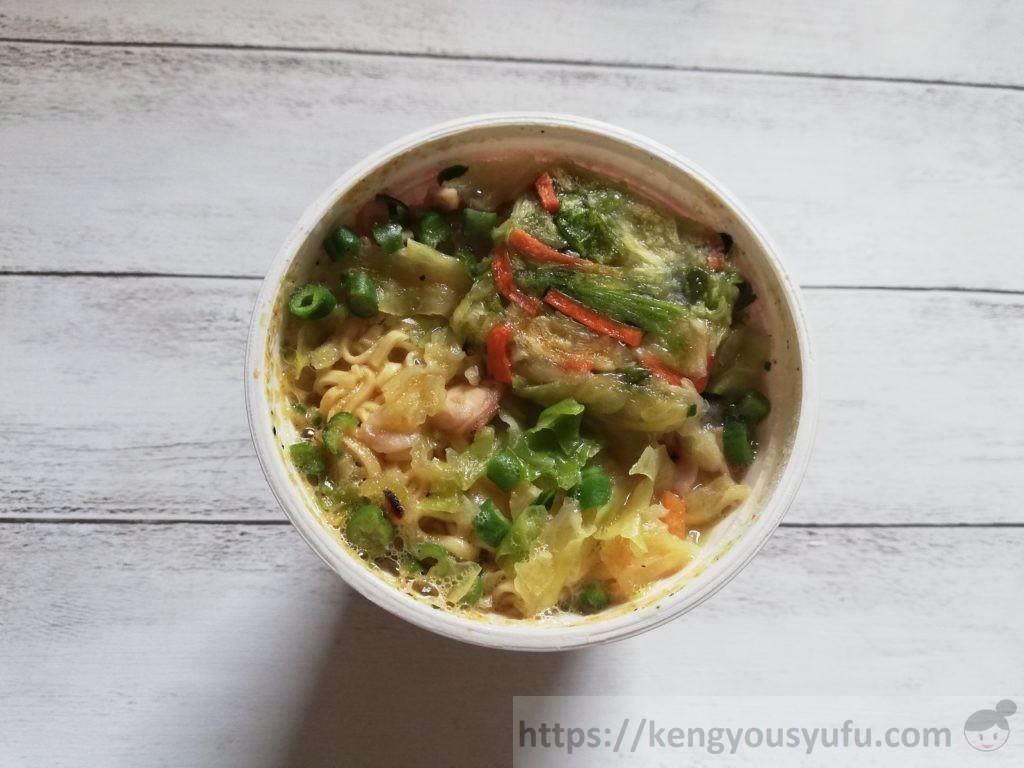 食材宅配コープデリで購入した「6種野菜のヌードルちゃんぽん風」完成直後の画像