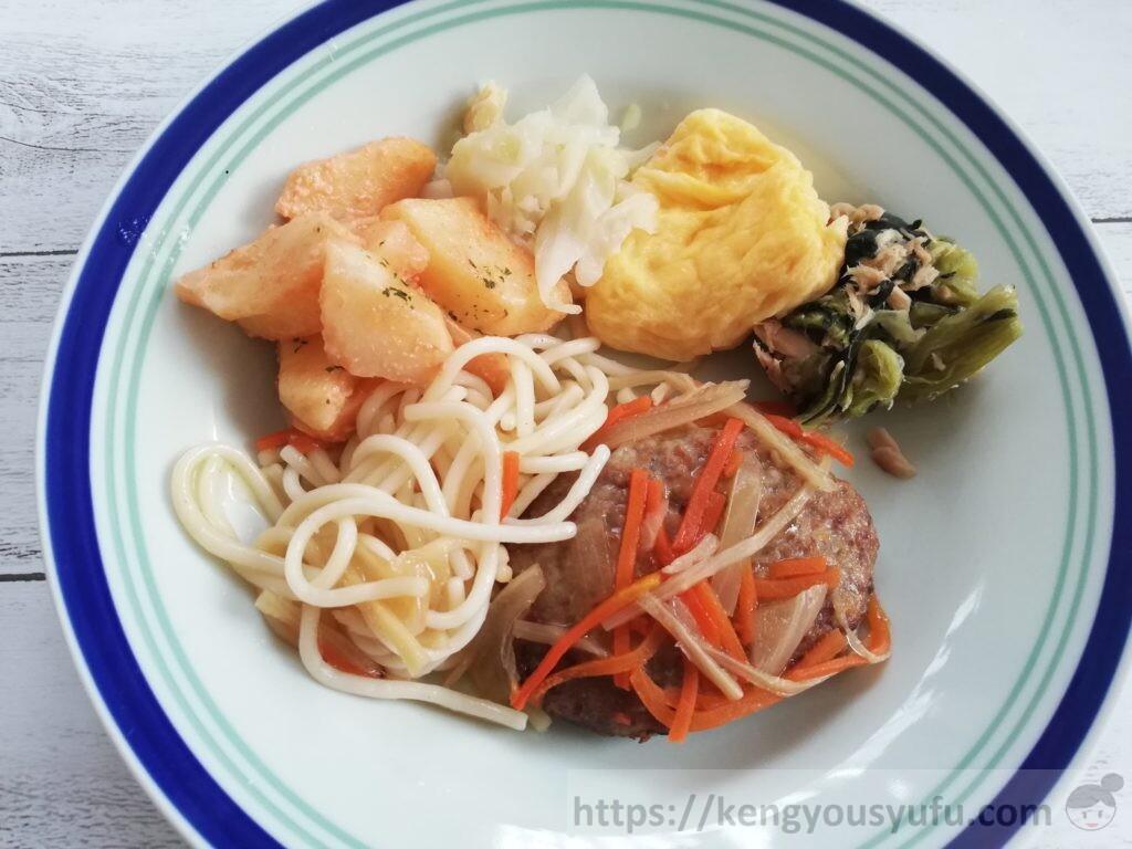 食材宅配ウェルネスダイニング「健康応援食」ハンバーグ和風あんかけ 別のお皿に盛り付けてみた