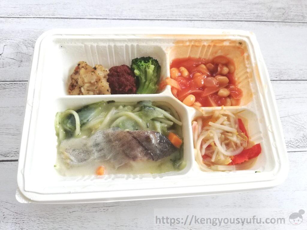 食材宅配ウェルネスダイニング「健康応援食」タラと法蓮草のクリームソース 電子レンジで温めた後の画像