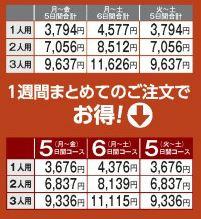 ヨシケイY*デリ ある週の料金表