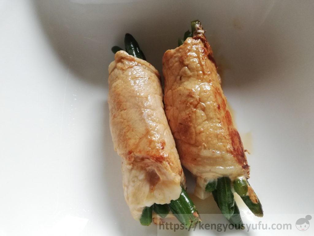 食材宅配コープデリの冷凍野菜「ヤングいんげん」肉巻き完成画像