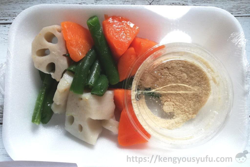 食材宅配コープデリで購入したミールキット「バジルチキンソテー+ごろごろ野菜スープ」スープの材料