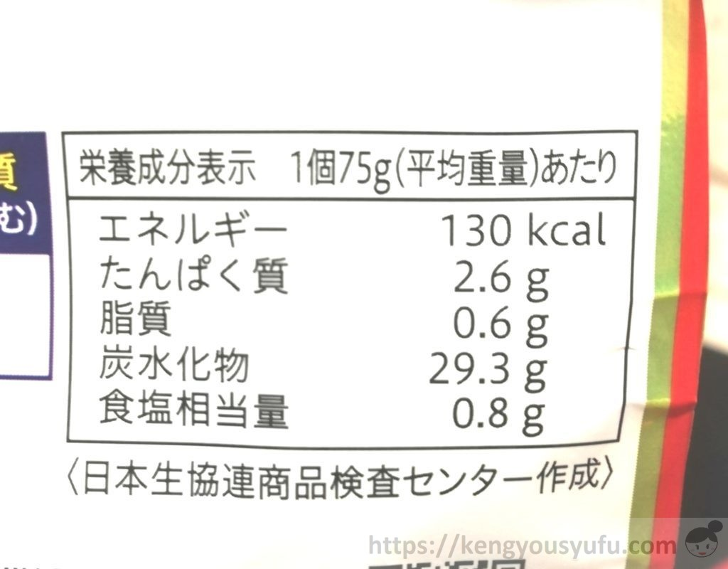 食材宅配コープデリで購入した「大きい焼おにぎり」栄養成分表示