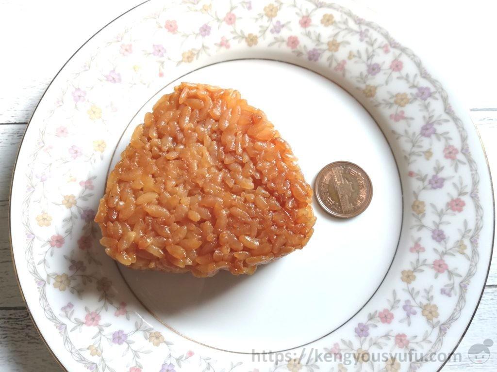 食材宅配コープデリで購入した「大きい焼おにぎり」10円玉と大きさを比較