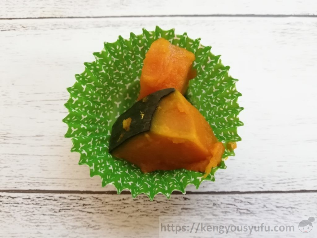 食材宅配コープデリで購入した「3種の煮物おかず」自然解凍後 かぼちゃの煮つけ