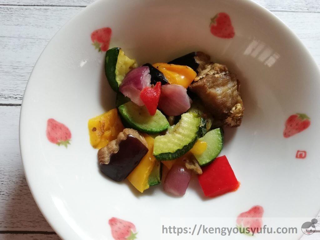 食材宅配コープデリで購入した「イタリア産5種の彩りグリル野菜」解凍直後の画像