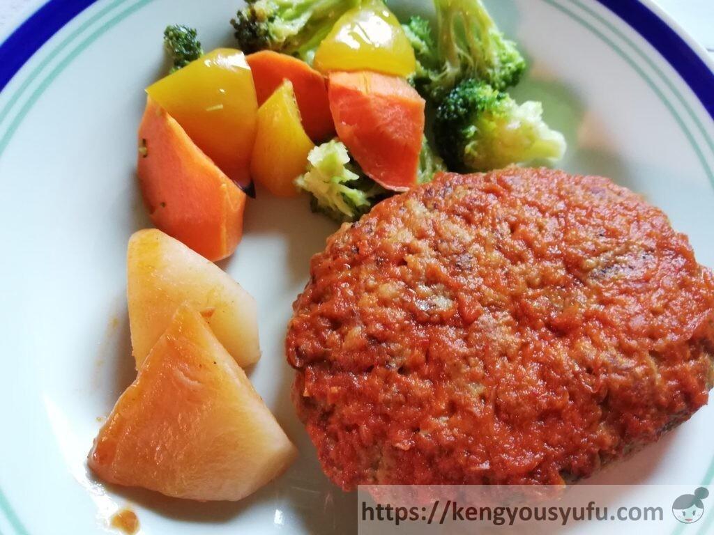 冷凍弁当宅配サービス「ナッシュ」で購入した「チリハンバーグステーキ」お皿に盛り付けた画像