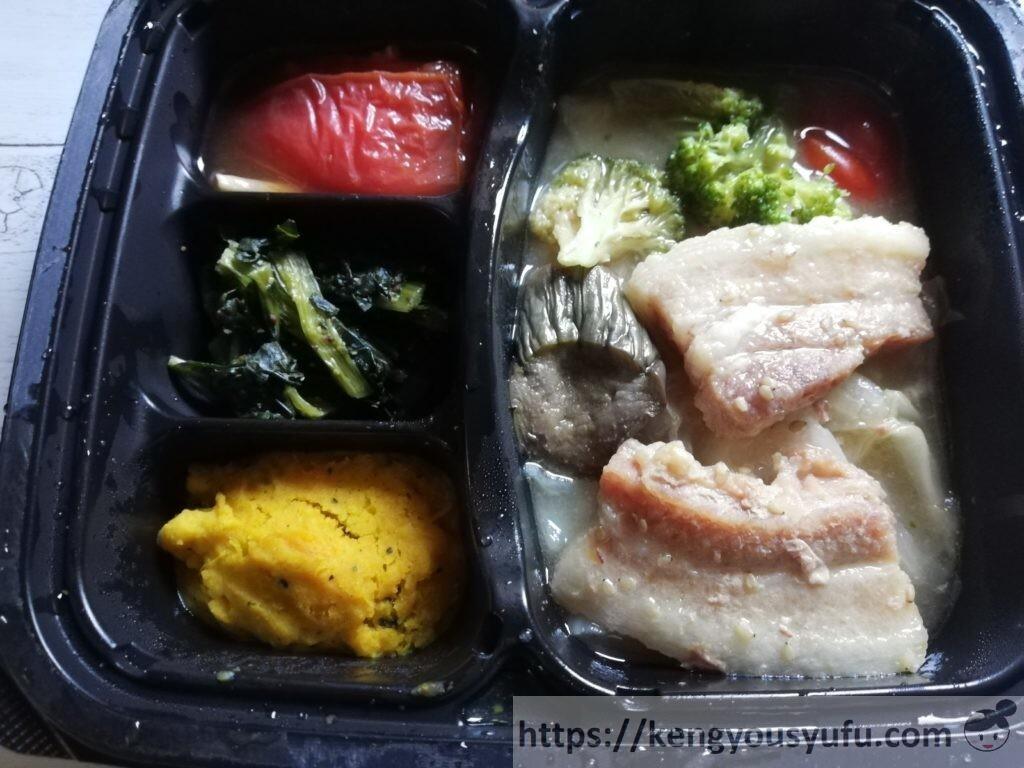 冷凍宅配弁当ナッシュ「蒸し豚の味噌煮」完成画像