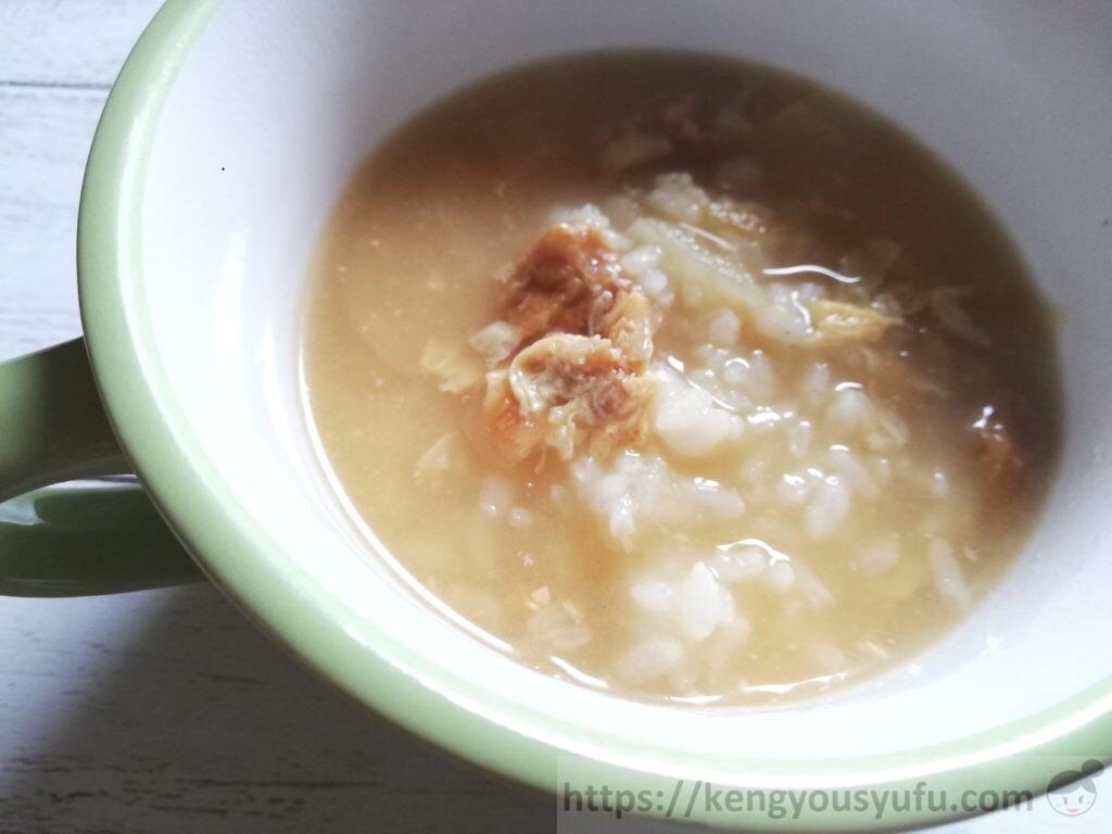 食材宅配コープデリで購入した「炒めたまねぎとたまごのおみそ汁」アレンジレシピ 雑炊