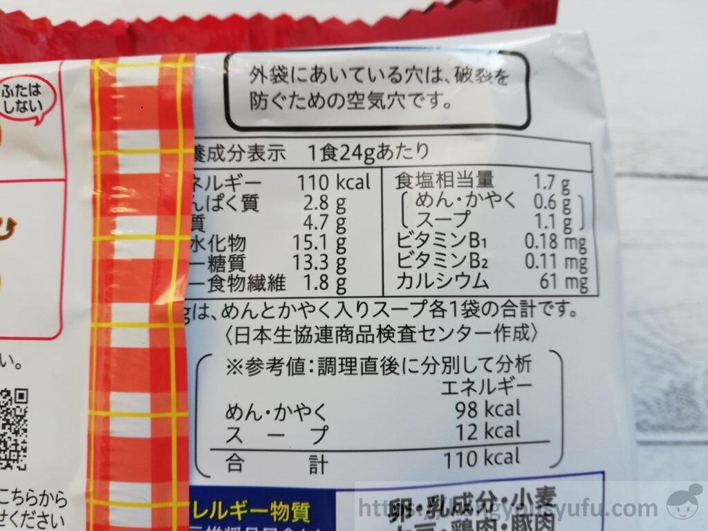 食材宅配コープデリ「ミニニードルミニ」栄養成分表示
