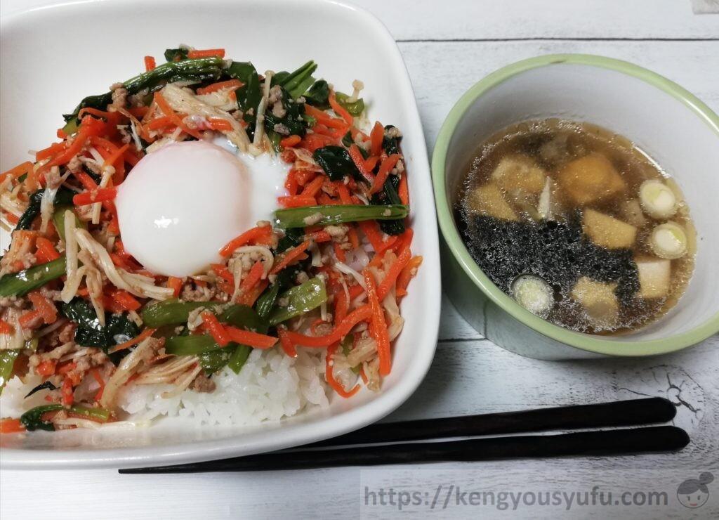 オイシックス「ジューシーそぼろと野菜のビビンバ」「長ねぎとのり、豆腐の韓国風スープ」完成画像