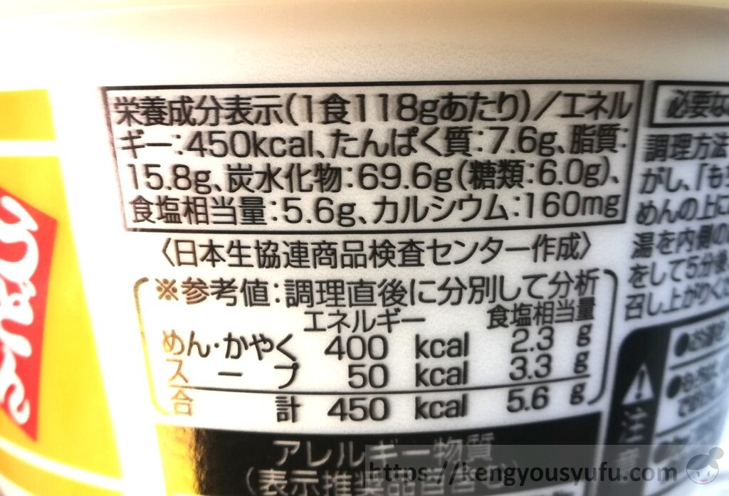 食材宅配コープデリで購入した「マルちゃん力もちカレーうどん(杵つき餅入り)」栄養成分表示