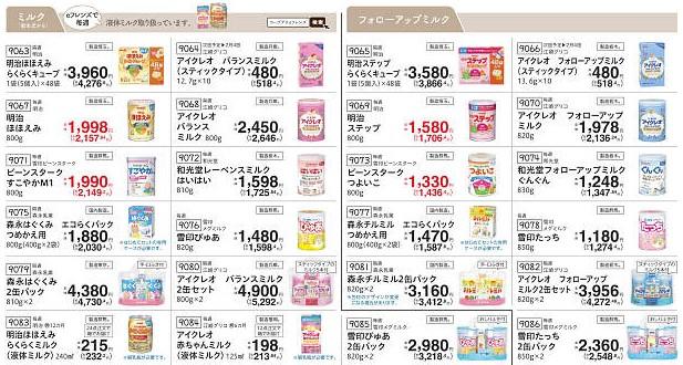 食材宅配コープデリの粉ミルクカタログ