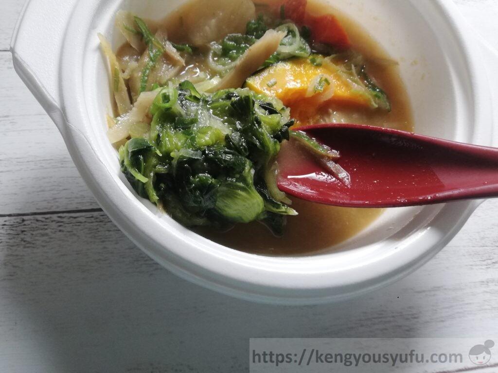ウェルネスダイニング ベジ活スープ食「豚汁」まだ加熱が甘かった