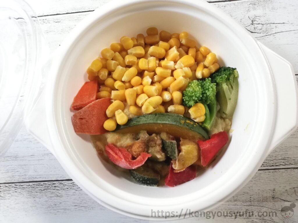 ウェルネスダイニング ベジ活スープ食「甘くてなめらかコーンチャウダー」中身をチェック