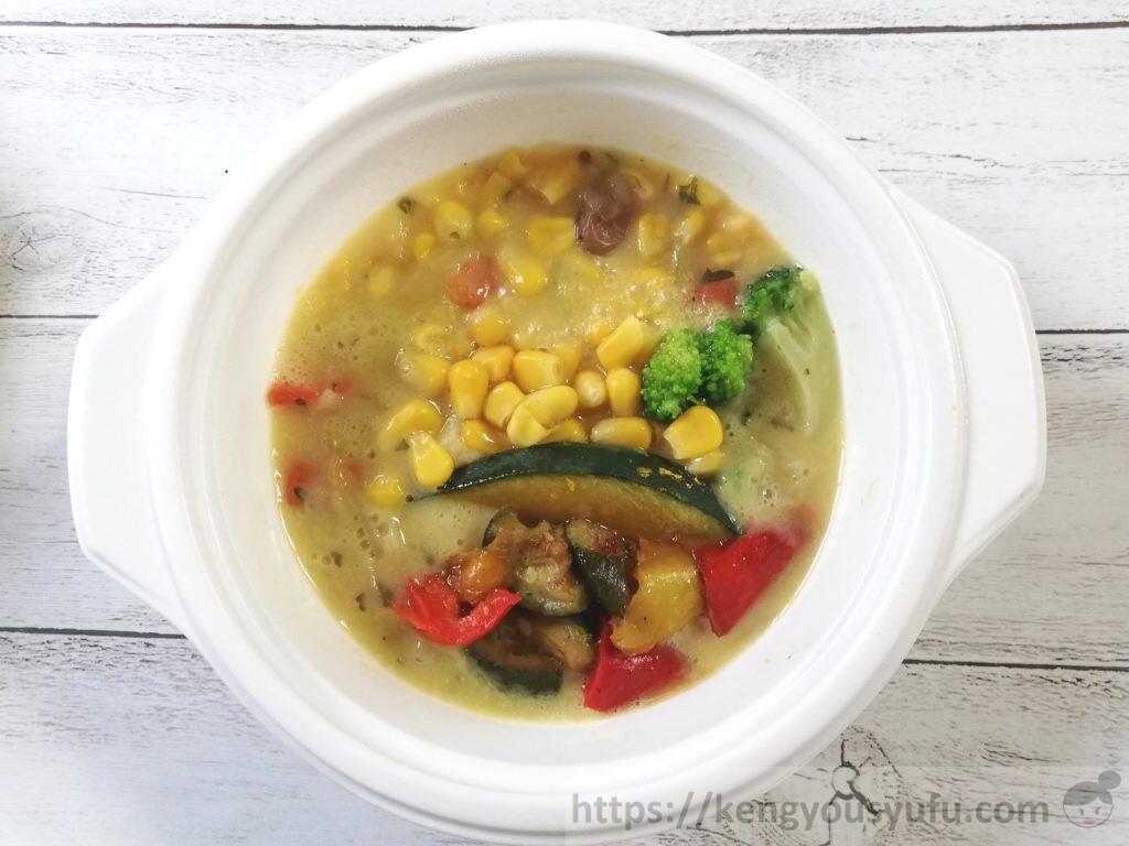 ウェルネスダイニング ベジ活スープ食「甘くてなめらかコーンチャウダー」完成画像