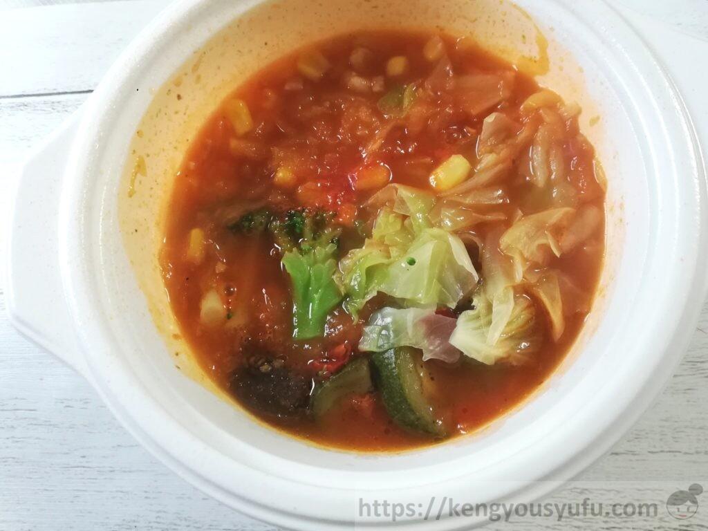 ウェルネスダイニング ベジ活スープ食「トマトであっさりミネストローネ」完成画像