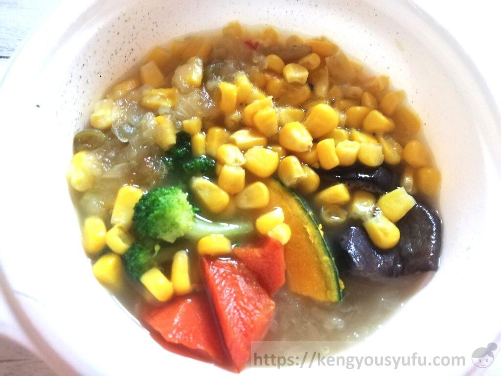ウェルネスダイニング ベジ活スープ食「うまみ溶け込むミックス野菜」解凍直後の画像