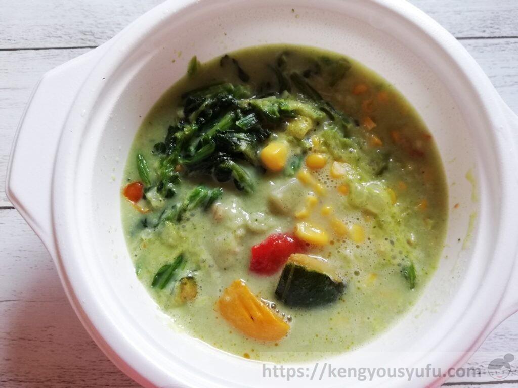 ウェルネスダイニング ベジ活スープ食「クリームほうれん草」完成画像