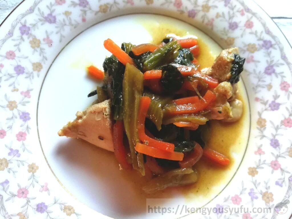 ウェルネスダイニング制限食料理キット「がんもどきと野菜の煮物+青梗菜の棒棒鶏和え」完成画像