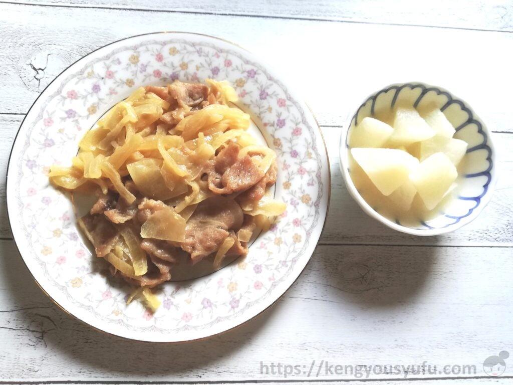 豚肉の生姜焼き+和風大根煮 完成画像